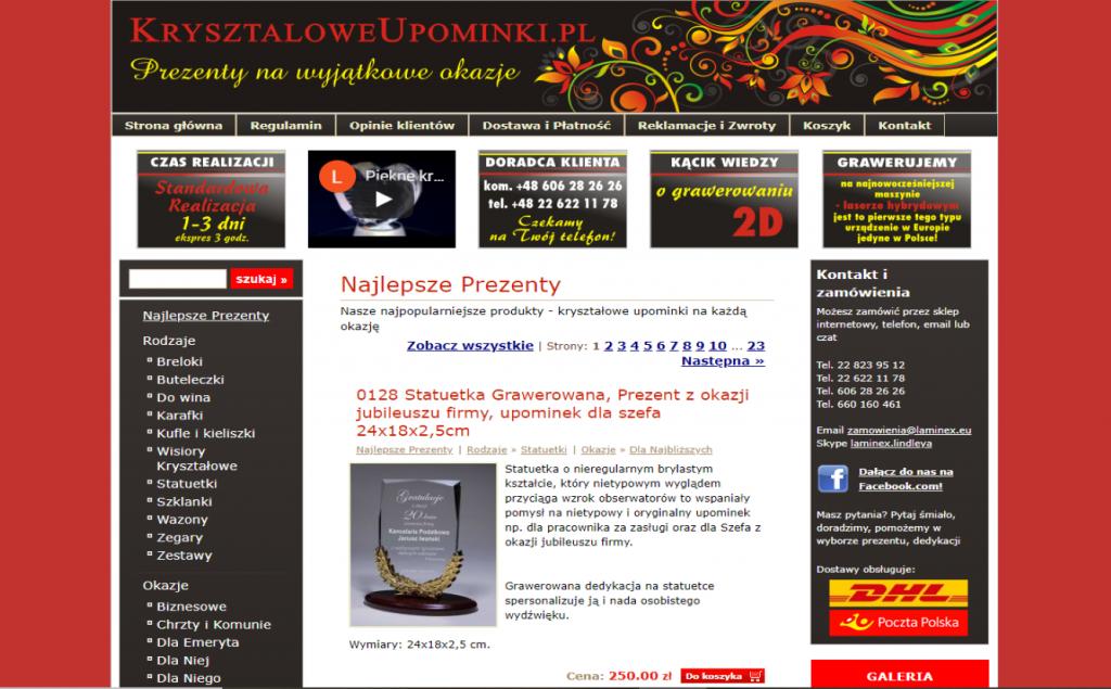 Strona sklepu kryształowe upominki